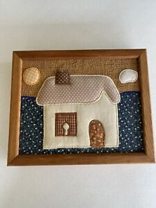 vintage Wooden 14+ key holder box wall mount quilted house Cottagecore hidden