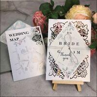 10x Laser Cut Wedding/Event Invitation Card w/Envelope & printing, optional RSVP