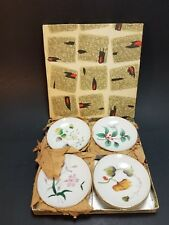 """8 Vintage Small Wall Plates Flowers Floral Japan Woolworth 3"""" In Box 1007/139C"""