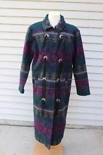 Woolrich Southwestern Coat Long Womens S Aztec Indian Blanket Tassels USA Navy