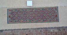 9'5x2'9 Handmade Afghan Kilim Runner Rug Wool Kelim Tribal Flat Carpet Rug #4008