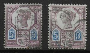 SG207&207a. 5d.Dull Purple & Blue.Die I.(On Left)-Also Die II. Both FU. Ref:0677
