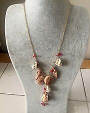 "Vintage Cookie Lee Sea Shell Ocean Necklace 16""-18"" Gold Chain +Shells Pendant"