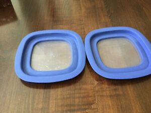 """2 RUBBERMAID Premier Easy Find Blue Replacement Lids Clear Vented 7"""" Square"""