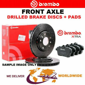 BREMBO XTRA Drilled Front BRAKE DISCS + PADS for SEAT ALTEA 1.8 TFSI 2007->on