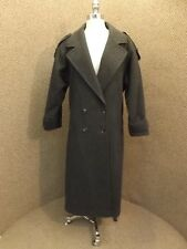 Unworn? Charcoal Gray 100% Wool Long Length Spy Trench Coat Sz 8 Career Business