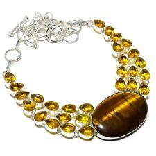 "Tiger'S Eye, Citrine Gemstone Ethnic 925 Sterling Silver Jewelry Necklace 18"" JM"