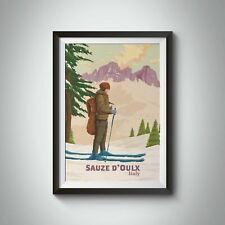 More details for sauze d'oulx ski resort travel poster - framed - vintage - bucket list prints