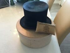 RARE ANTIQUE BROOKS BROTHER (7) BEAVER SKIN TALL TOP HAT WITH HAT BOX NO RESERVE