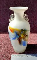 A Vintage Opaline Dalian Glass Multi Coloured Vase In Excellent Condition