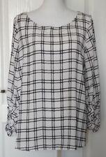 Ann Taylor Loft Womens Career Blouse Sz Large Black White 3/4 Sleeve Top