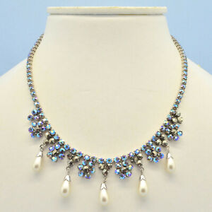 Vintage Necklace 1950s Blue AB Crystal Marcasite Faux Pearl Silvertone Jewellery