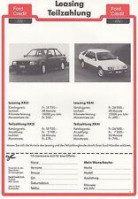 FORD ESCORT XR3i SIERRA XR4i Bank Leasing Werbung Prospekt Brochure Sheet SWISS