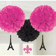 BRIDAL SHOWER Day in PARIS FLUFFY DECORATIONS (3) ~ Party Supplies Paper Pink