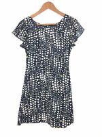 Iconic Kate Moss Topshop Navy Blue Yellow White Hearts Spades Shift Dress UK 6 8