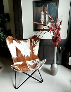 Leather Butterfly Chair, Cowhide Leather, Hair-On Black/White Living Room Chair