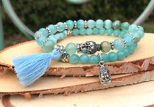 Buddha Lotus Armband Set Jade Achat Larimar Quaste Mala Armband
