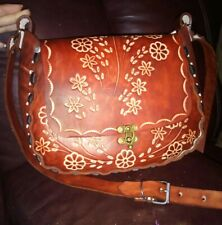 100% new genuine mexican latigo leather Hand Tooled, embroidered shoulder Purse