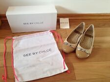 Pre-Loved 100% auth See By Chloe Leather Aero Flat Shoes With Logo. 36
