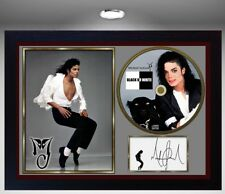 "Michael Jackson SIGNED FRAMED PHOTO AND ""B or W "" CD Disc Presentation Display #"