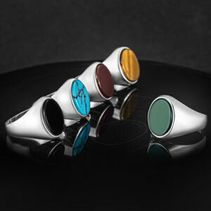 Solid 925 Sterling Silver Oval Agate Turquoise Tiger's Eye Onyx Stone Men's Ring