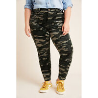 Anthropologie Pilcro High-Rise Skinny Corduroy Camo Ankle Pants Size 18W NWT