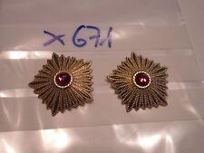 DDR Schulterstück Marschall Sterne golden mit rotem Similistein 1 Paar (x671)