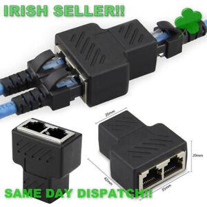 RJ45 Splitter Convertor 1 to 2 Dual Female Port CAT 5 CAT 6 LAN Ethernet Adapter