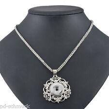 1 Halskette Halsschmuck Blumen Anhänger für Druckknopf Click Buttons 58cm