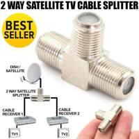 Coax Cable 2 Way Splitter F Type TV Antenna Satellite Signal Sky Virgin Media