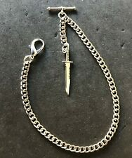 silver colour Albert pocket watch chain with combat knife fob