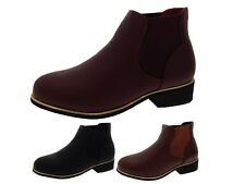 Womens Girls Faux Leather Chelsea Ankle Boots Kids Casual School Shoes Size