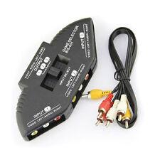 3 in 1 Composite RCA AV Audio Video Selector Switch Box Splitter + 3 RCA Cable