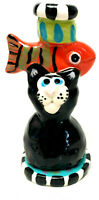 Folk Art Hand Made Cat Fish Ceramic Candle Stick Holder