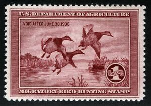 US Sc RW2 $1.00 1935 MNH OG VF Federal Duck Hunting Permit Stamp