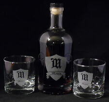 New Engraved 750ml Bourbon Bottle w/ Lid and Matching Engraved Whiskey Glasses