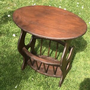Vintage Retro Oval Wooden Coffee Table With Magazine Rack