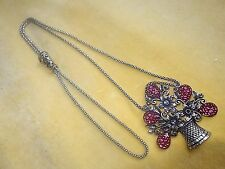 Silver tone metal pink glass Large basket of flowers pendant gunmetal chain A/F