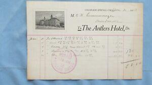 1913 Colorado Springs Colo. Antlers Hotel Billhead-Room & Phone-Broadmoor Hotel