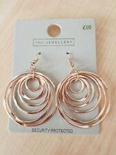 Next Gold Tone Drop Earrings Circles Pierced New