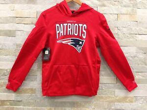 Nike Therma Dri-FIT NE Patriots Red Sideline Performance Pullover Hoodie Boys L