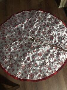 "Glamorous Red & White Snowflake Christmas Tree Skirt 46"" Diameter Happy Holi"