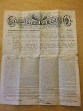 1891 Continental Insurance Co. NY Policy