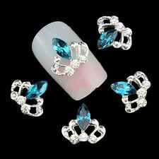 2 St Nagelschmuck Deko Nail Art Strass  Krone Kristall  hellblau silber TN1488