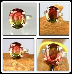 Oval Cut 23.40 Ct Natural Watermelon Tourmaline 925 Sterling Men's Wedding Ring