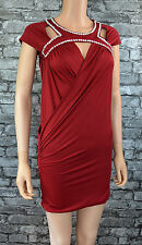 Womens Short Red Diamante Club Party Evening Wrap Sarong Grecian Dress Size 8