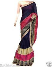 INDIAN ETHNIC BLUE PINK BEIGE 3D DESGINER WITH EXCLUSIVE BORDER SAREE SARI