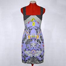 "VERSACE Sleeveless Purple Sheath Dress Spring 2010 ""Alice in Wonderland"" Size S"