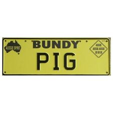 Novelty Number Plate - Bundy Pig Black On Yellow New Series AUS Licence Plate Si