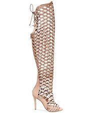 STEVE MADDEN Silk Nude tan nubuck beige thigh high gladiator sandals boots 8